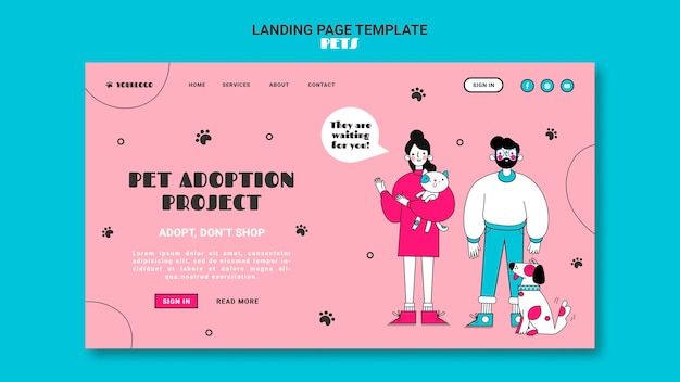 Pets landing page template