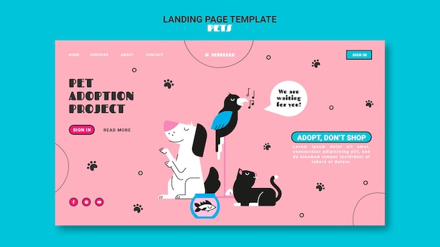 Pets landing page template Free Psd