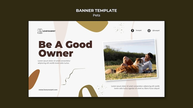 Pets and owners banner template
