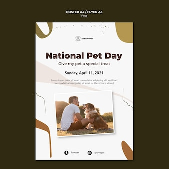 Modello di stampa di animali domestici e proprietari