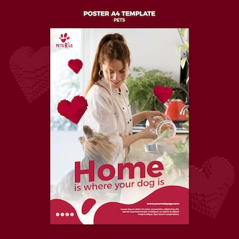 Pets poster template with photo