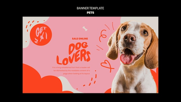 Pets template of banner design