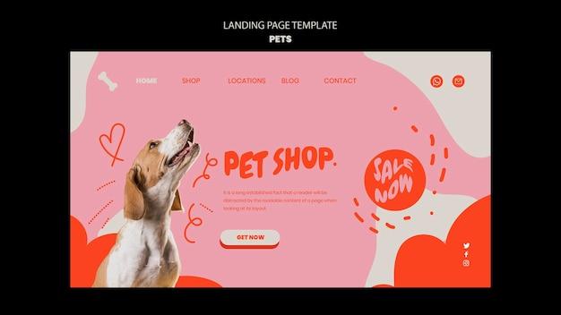 Modello di animali domestici del design della pagina di destinazione
