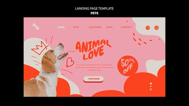 Pets template of landing page design