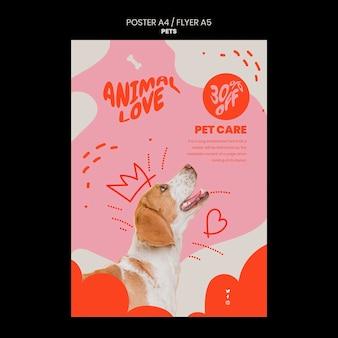 Modello di animali domestici del design del poster verticale