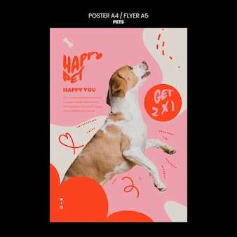 Pets template of vertical poster design