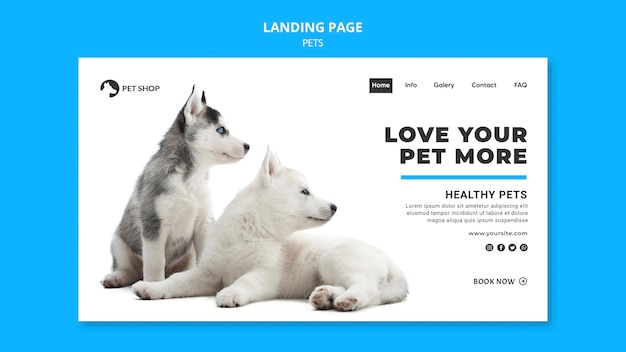 Pets web template with photo