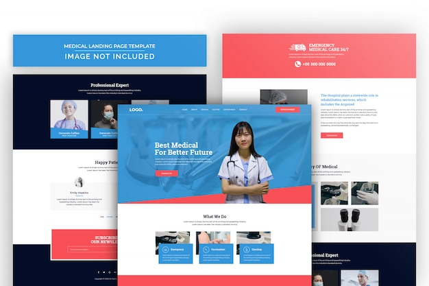 Pharmacy and medical landing page psd template