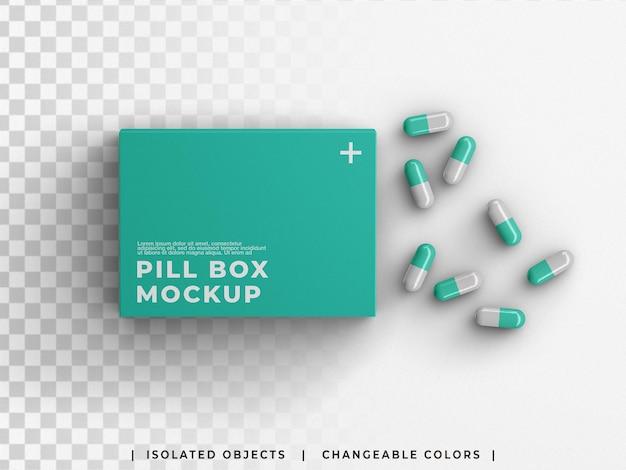 약국 모형 의료 상자 포장 약 용기에 흩어져 있는 알약 캡슐이 격리되어 있습니다.