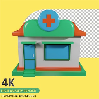 Pharmacy seen from the front cartoon rendering 3d modeling