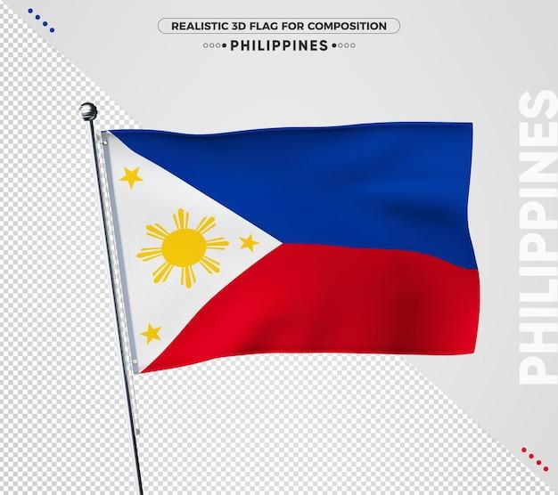 Флаг филиппин с реалистичной текстурой