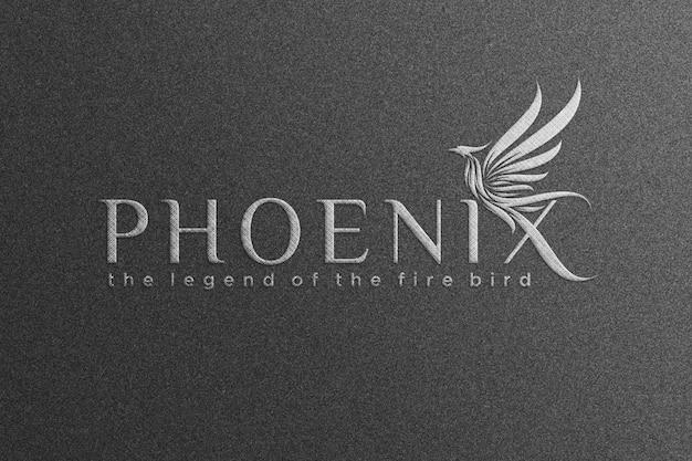 Макет логотипа феникса - серебряный макет логотипа - тканевый макет
