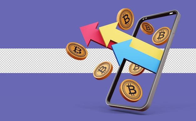 암호 화폐 비트코인 기호 3d 렌더링이 있는 전화 및 화살표