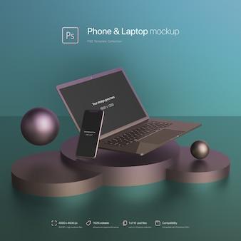 Телефон и ноутбук, плавающие в абстрактном макете сцены