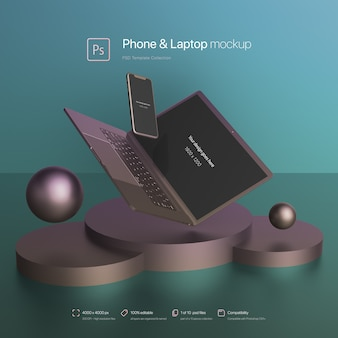 抽象的なシーンのモックアップで携帯電話とラップトップが飛ぶ