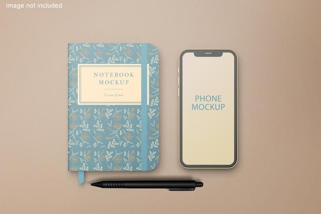 電話とノートブックのモックアップ