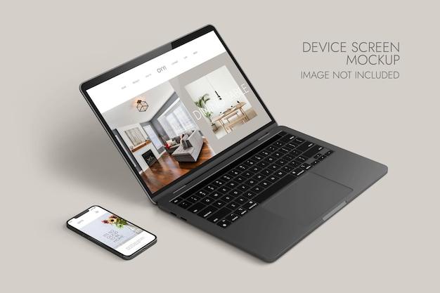 전화 및 노트북 화면-장치 모형