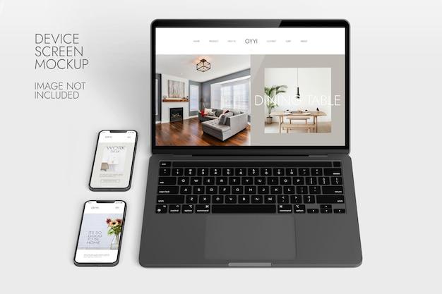 전화 및 노트북 화면-장치 모형 프리미엄 PSD 파일