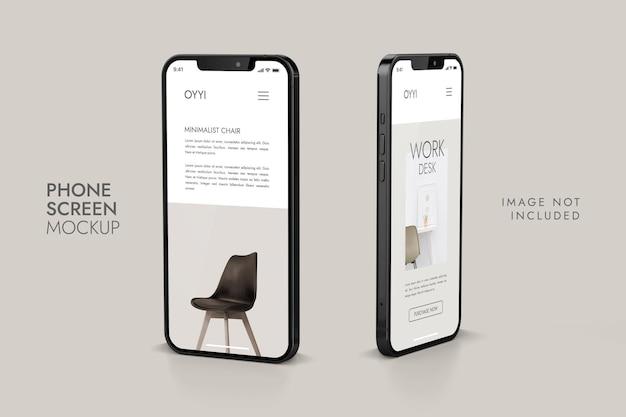 전화 및 화면-ui ux 앱 프레젠테이션 모형