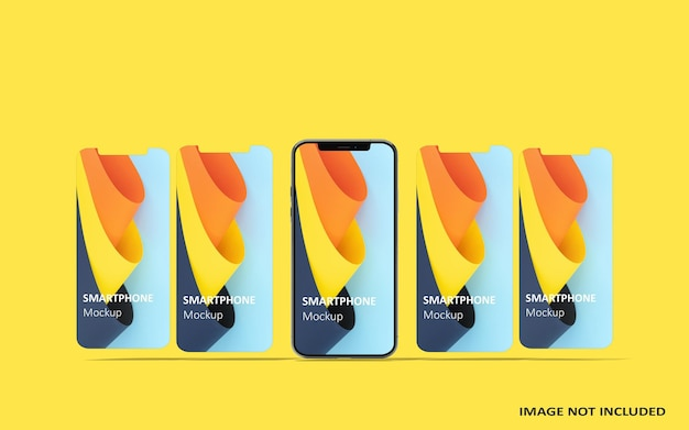 전화 및 화면 ui ux 앱 프레젠테이션 모형