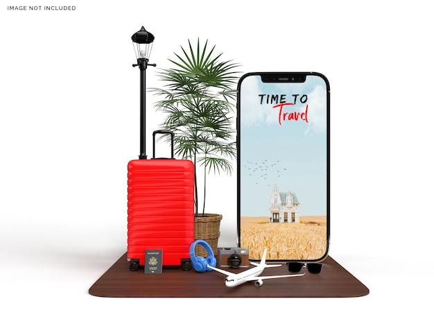 旅行者と飛行機のアクセサリーのモックアップ付きの電話とスーツケース