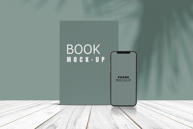 Phone and book stand preview mockup