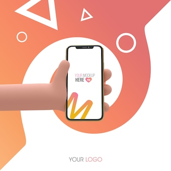 Phone in cartoon hand 3d mockup
