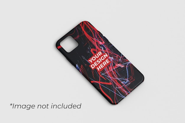 Phone case mockup design left angle view