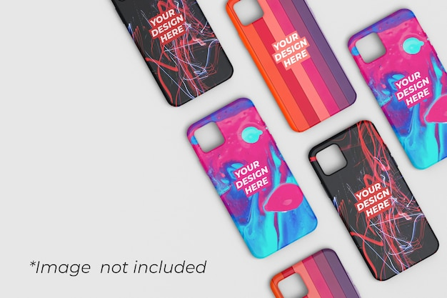 Phone case mockup design top angle view