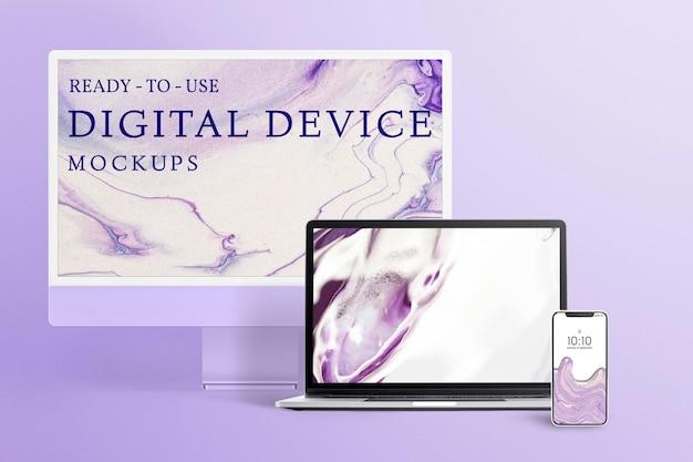 電話、コンピューター、ラップトップ画面のモックアップpsd、紫色の美学