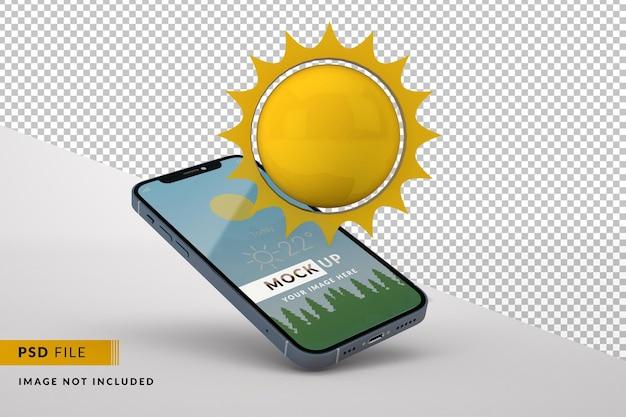 고립 된 3d 태양 전화 디스플레이 모형