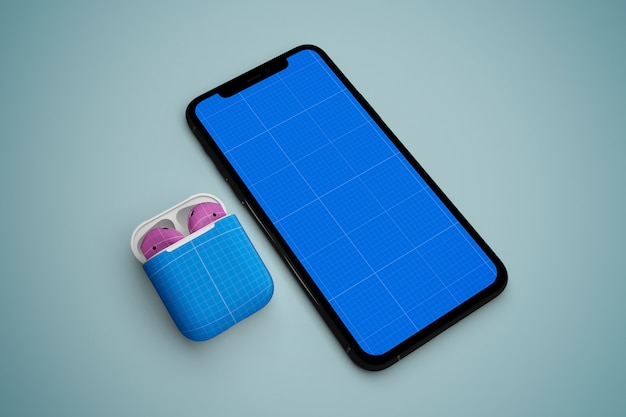 Phone  & earphone mockup