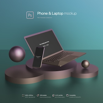 Phone and laptop floating in an abstract scene mockup