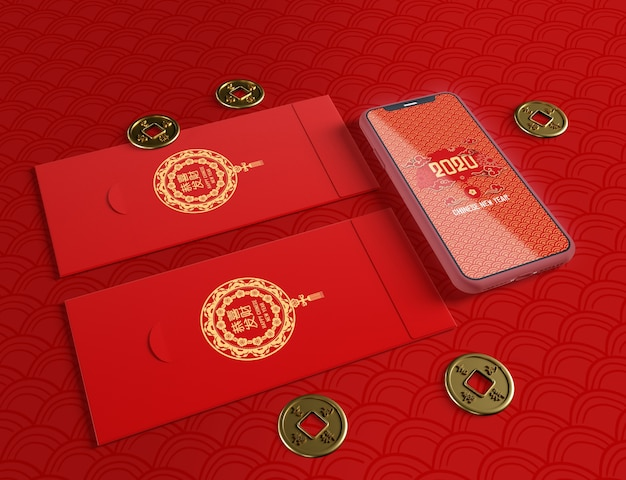 Phone mock-up and greeting cards for chinese new year
