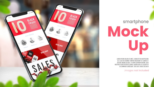 Phone mock up on shop table for black friday sales