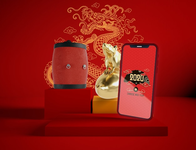 Phone mock-up with chinese new year traditional objects