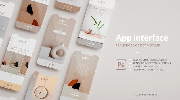 Макет телефона и экраны с копией пространства в пользовательском интерфейсе 3d-рендеринга ux для презентации приложения