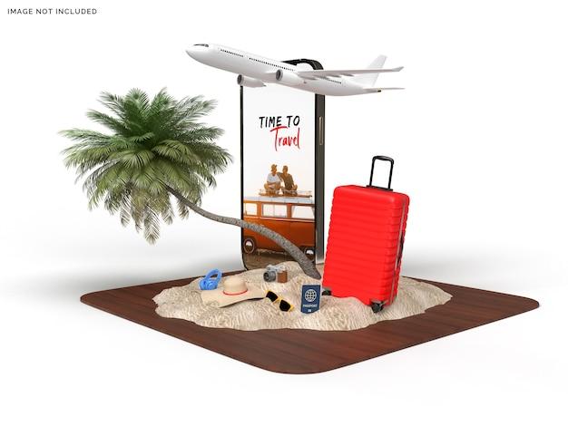 旅行者の飛行機の付属品が付いている電話のモックアップおよびスーツケース