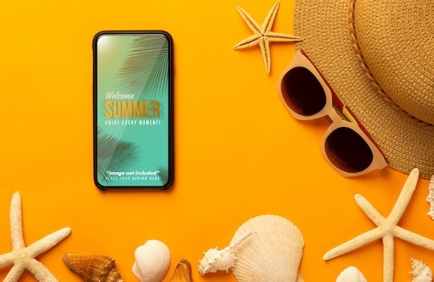 Phone mockup and beach accessories