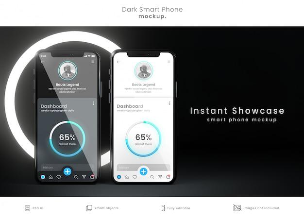 앱 디스플레이 용 전화 모형