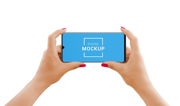 Phone mockup in horizontal position in woman hands