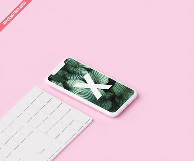 Phone mockup on marble background