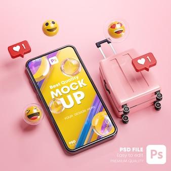 電話モックアップピンクスーツケース絵文字オンライン旅行ホリデーコンセプト3dレンダリング