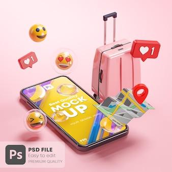 電話モックアップピンクスーツケースマップ絵文字オンライン旅行ホリデーコンセプト3dレンダリング
