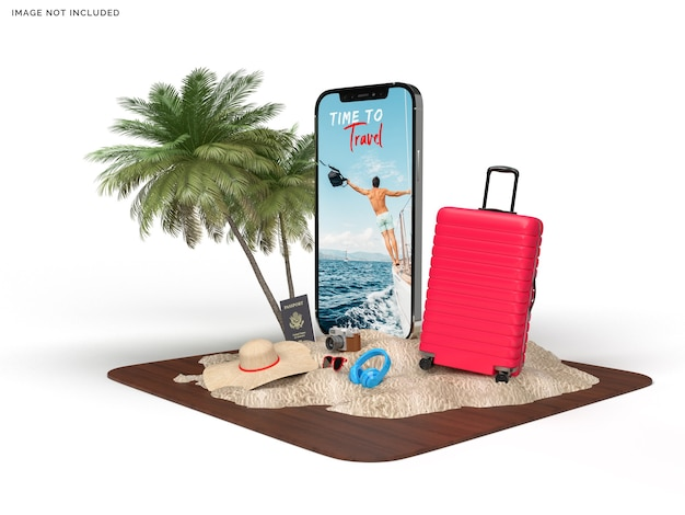 Phone mockup and suitcase with traveler accessories
