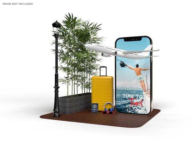 Phone mockup and suitcase with traveler airplane accessories