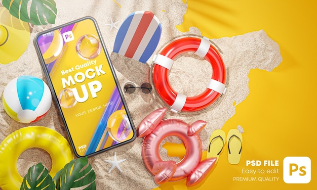 Phone mockup between summer beach accessories yellow background 3d rendering