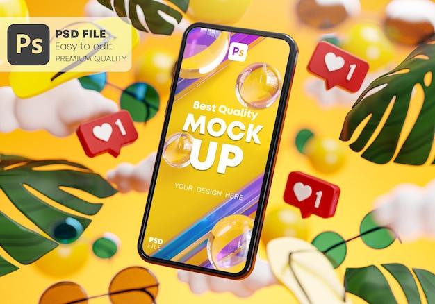 Телефон макет летом желтом фоне концепция 3d визуализации