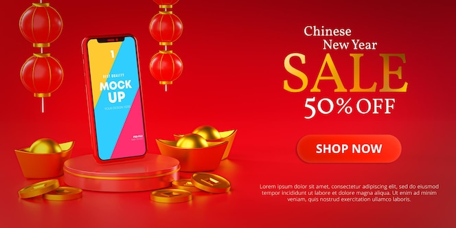 Шаблон макета телефона для китайского нового года, рекламный баннер