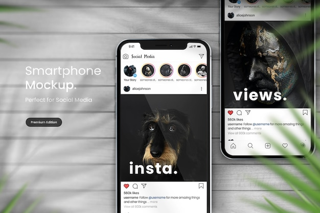 Макет телефона для отображения сообщений в instagram